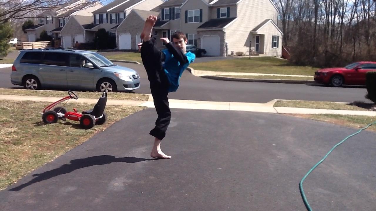 Free photograph; teen, boy, practice, karate