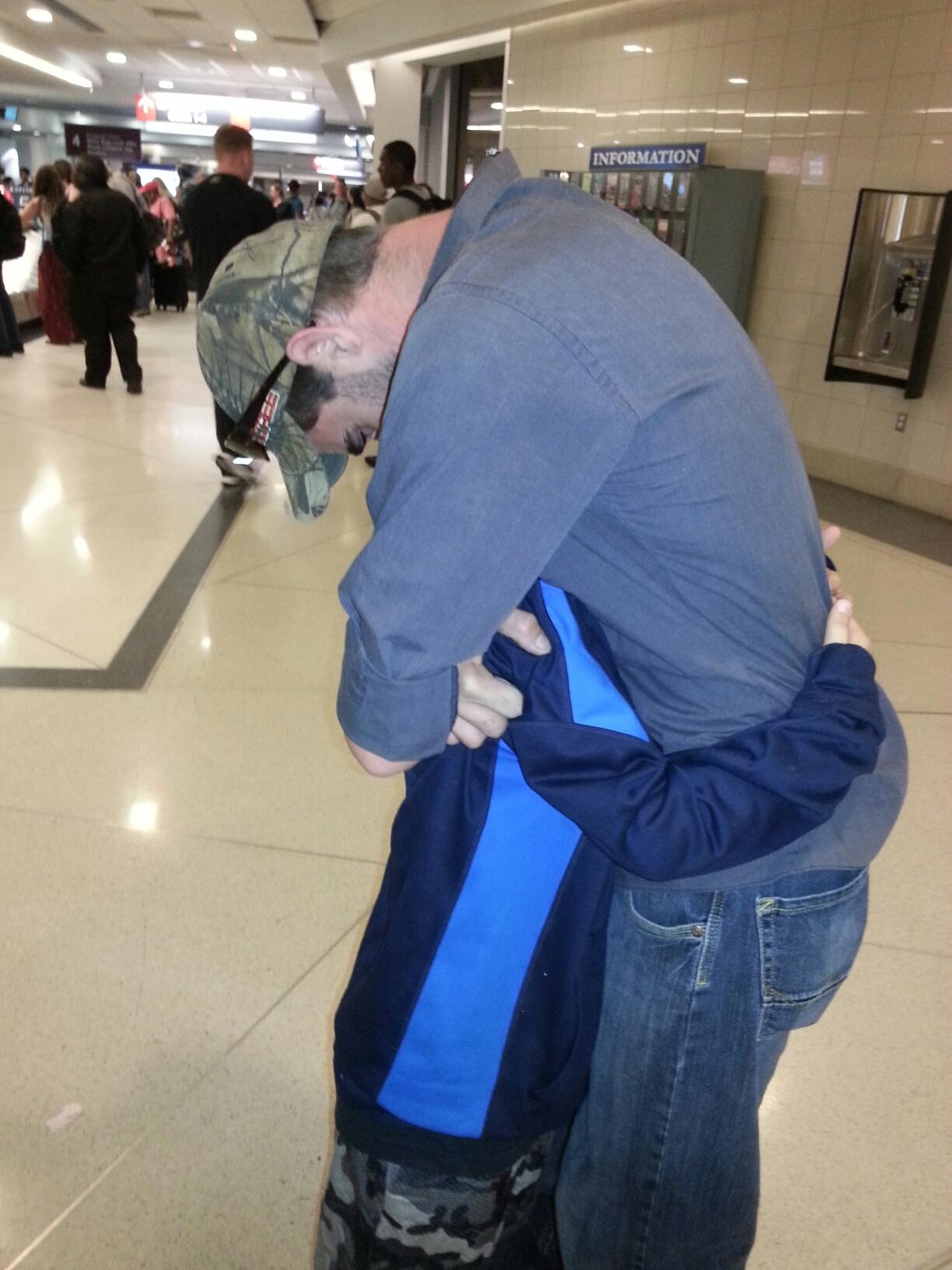 Free photograph; father, son, hugging