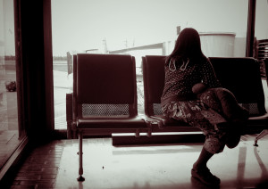 girl, waiting room, airport