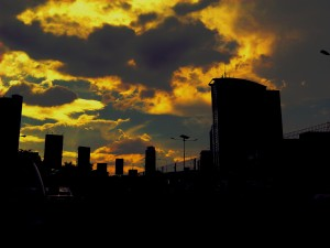 iltaan, keltainen, rakennukset, yö, kaupunki