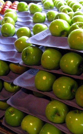 green, apples, grocery, store