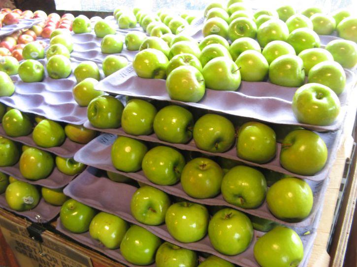 유기농, 녹색 사과, 저장