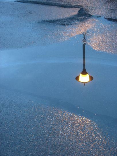 street, light, night, rain, puddle, reflection