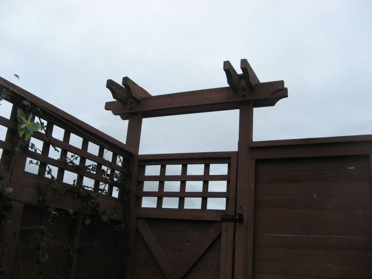 wooden, Japanese, style, yard, architecture, gate