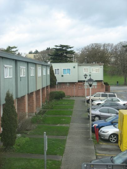 lawn, housing, complex, parking, lot, cars