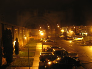 housing, parking lot, night