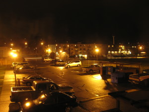 urban, housing, parking lot, cars, night