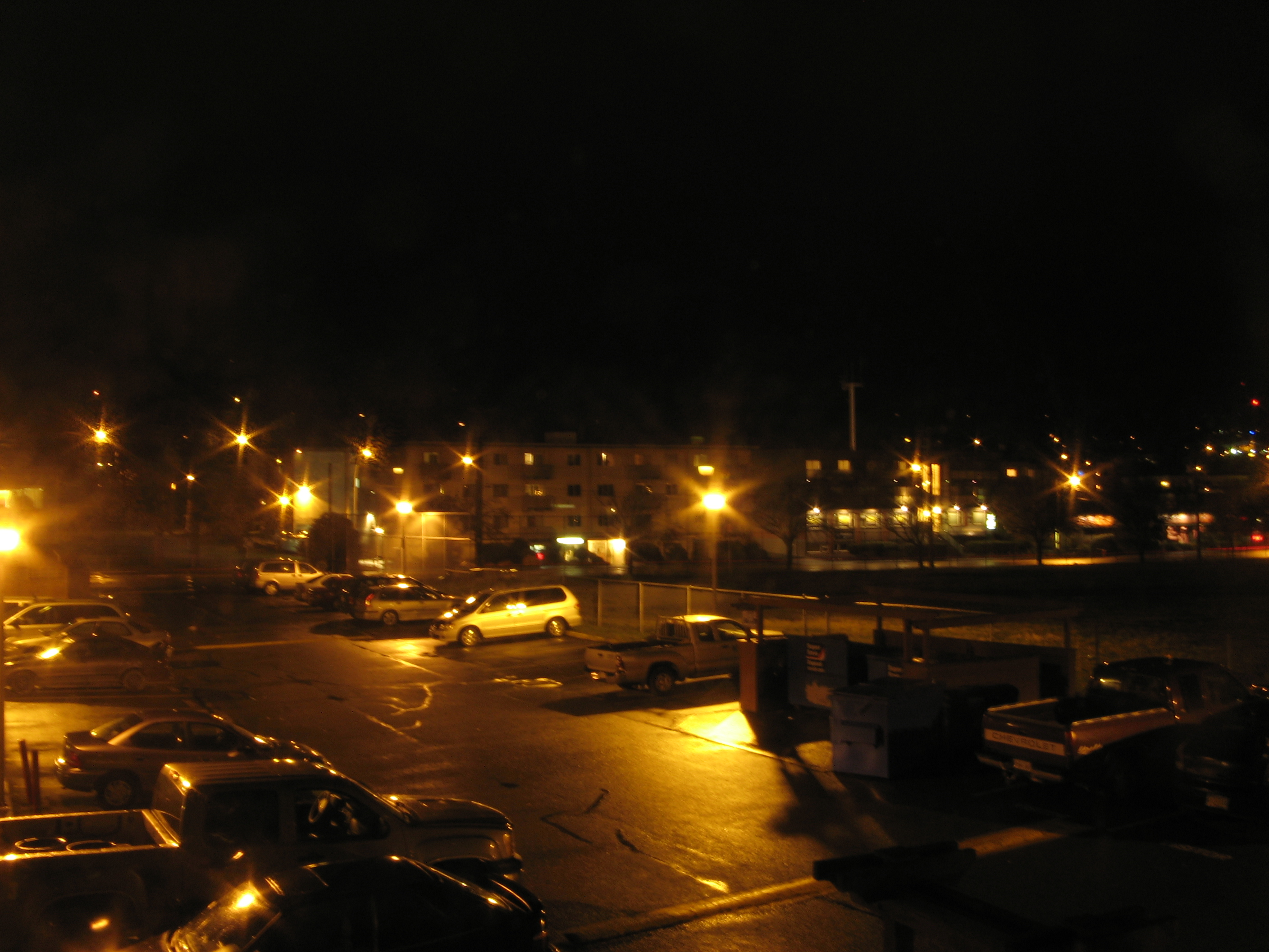 Free Picture Urban City Housing Parking Lot Cars Night