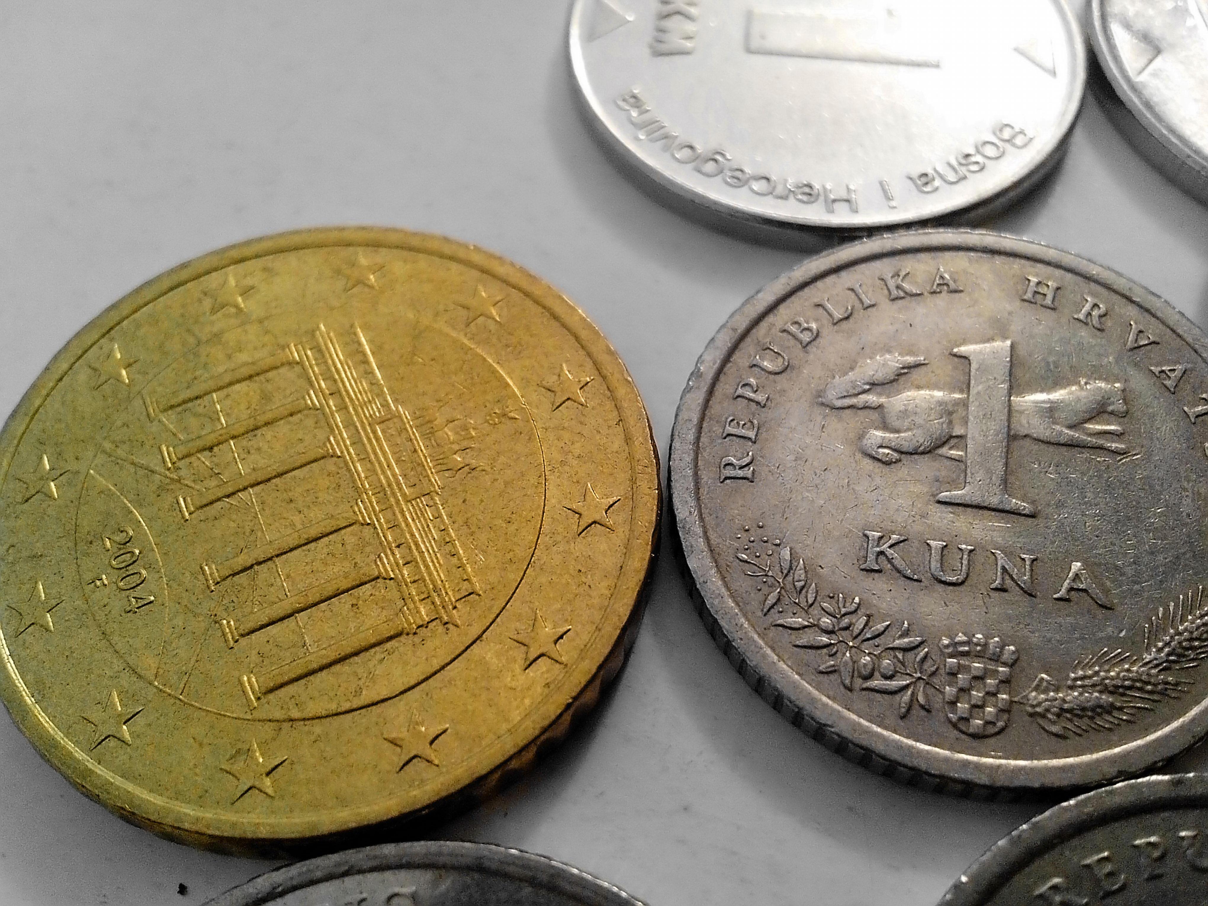 Free photograph; croatian, kuna, money, european, union, money, metal, coin