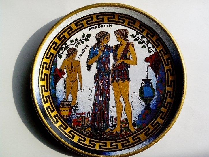 ancient, Greek, art, plate, pottery, earthenware, art