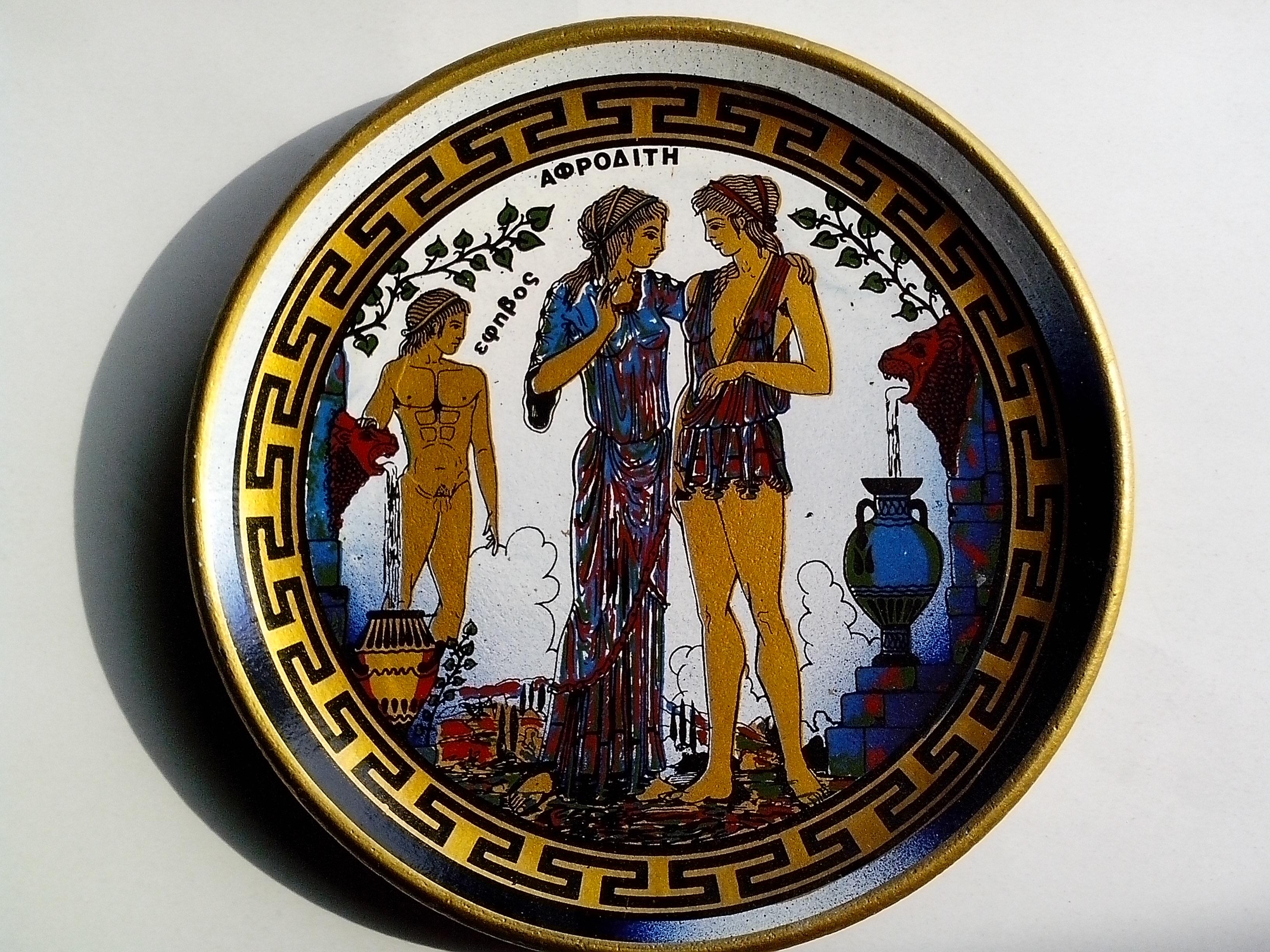 Free photograph; ancient, Greek, art, plate, pottery, earthenware, art
