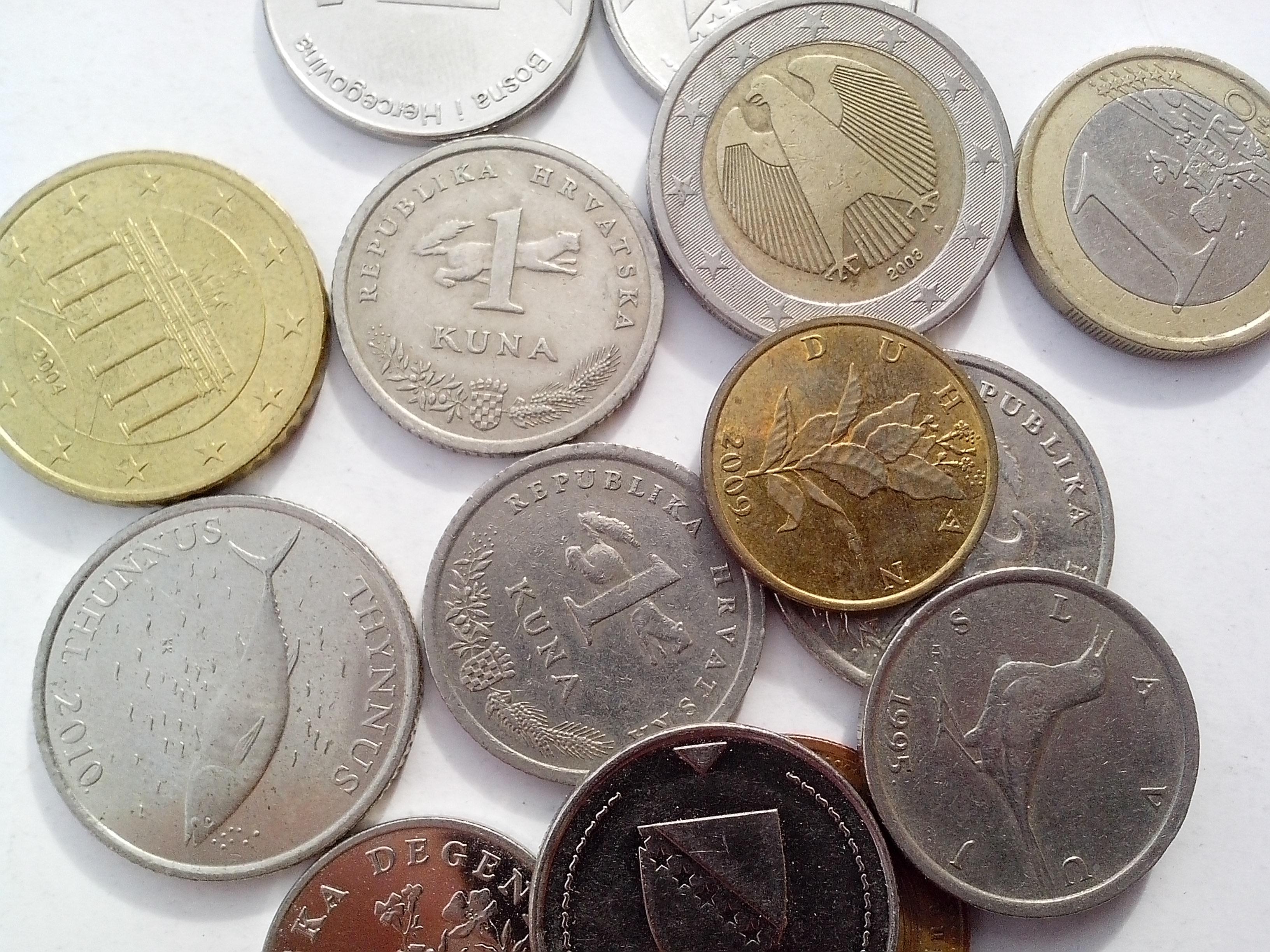 Free photograph; croatian, Bosnia, Herzegovina, coins, metal, money, cash, banknotes