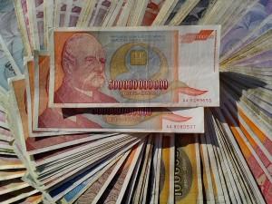 Skvělé, inflace, 500000000000, bankovky, hotovost, peníze, bankovky, měna