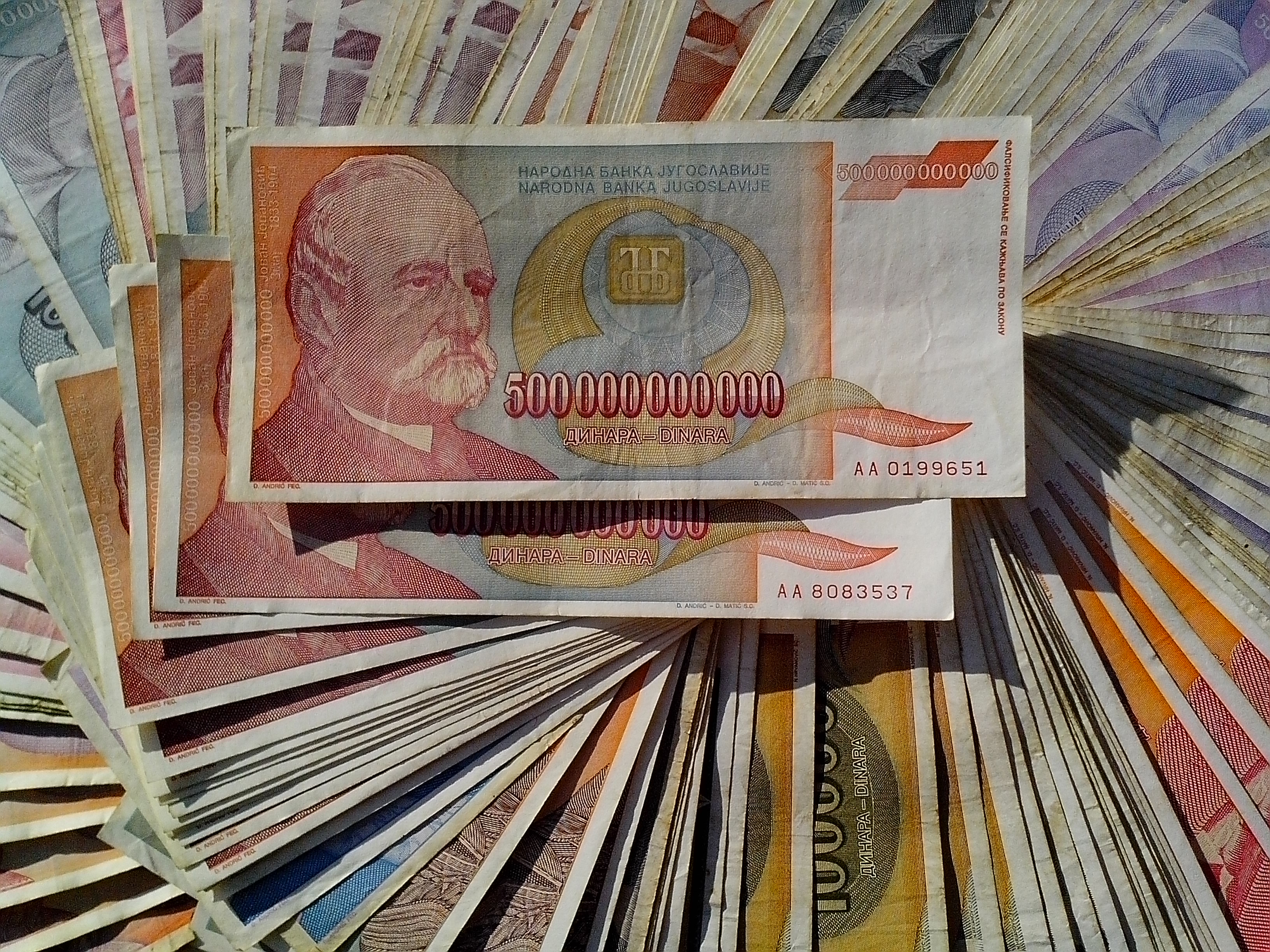 Free photograph; great, inflation, 500000000000, banknotes, cash, money, bills, currency