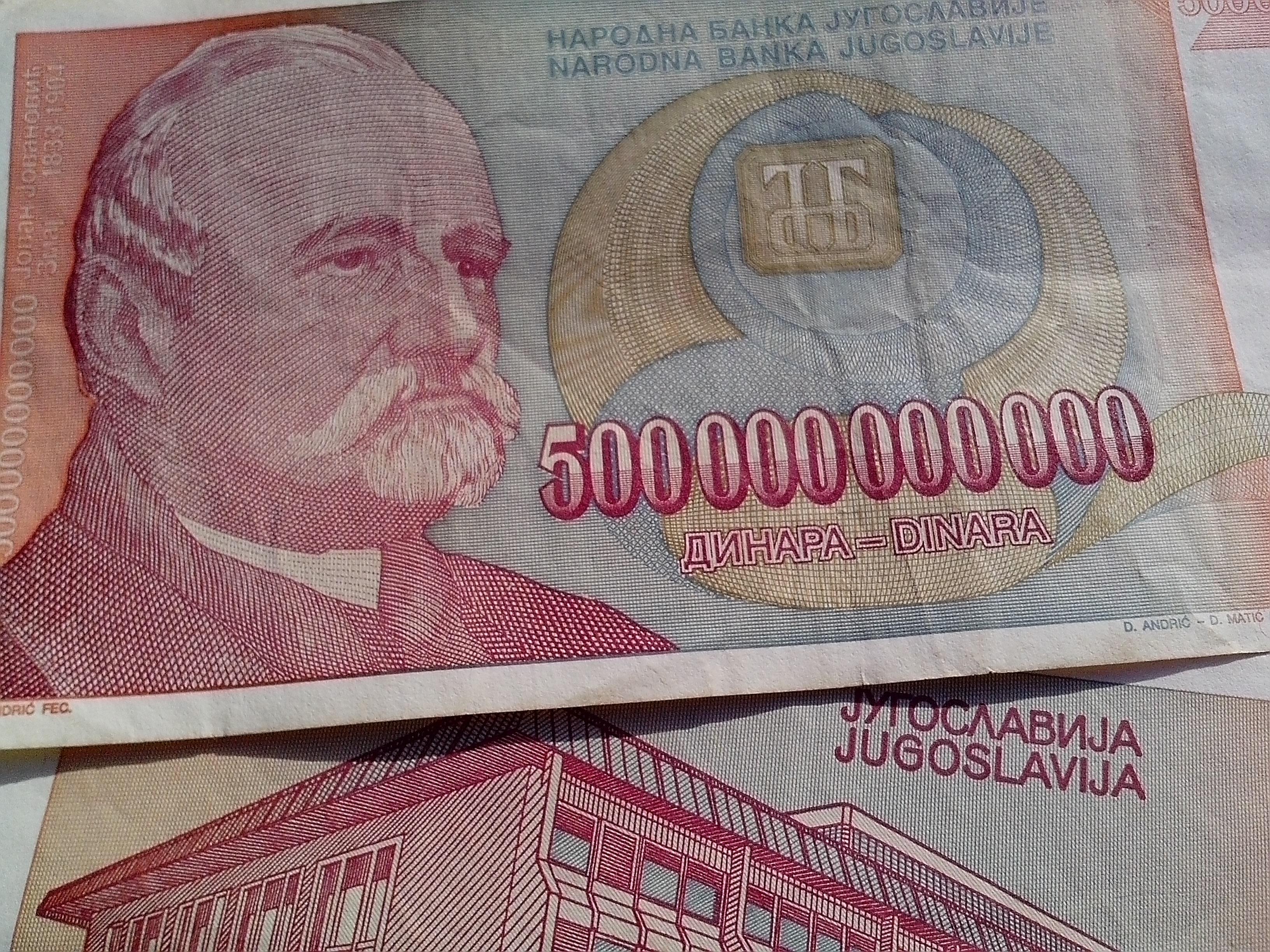 Free photograph; largest, bill, 500000000000, money, inflation, Yugoslavia