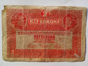 two, Hungarian, crown, bills, money, vintage, banknotes