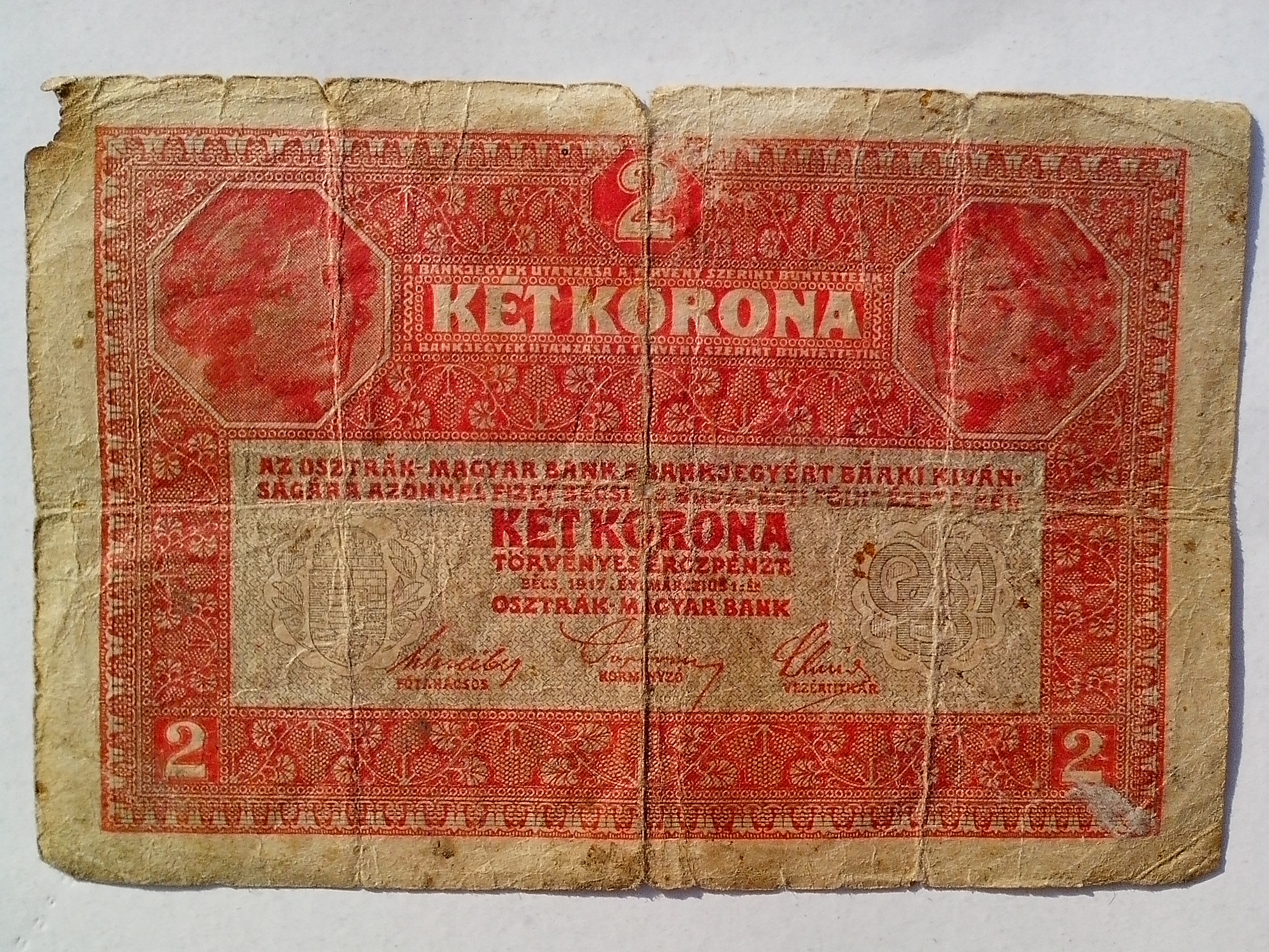Free photograph; two, Hungarian, crown, bills, money, vintage, banknotes