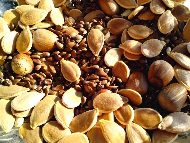 various, seeds, pumpkin, nuts, seeds, apple, grains