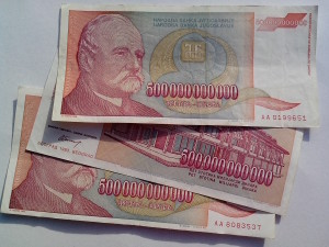 ยูโกสลาเวีย เงินเฟ้อ เงิน ธนบัตร บิล เงิน สด 500000000000 ดีนาร์ สกุลเงิน