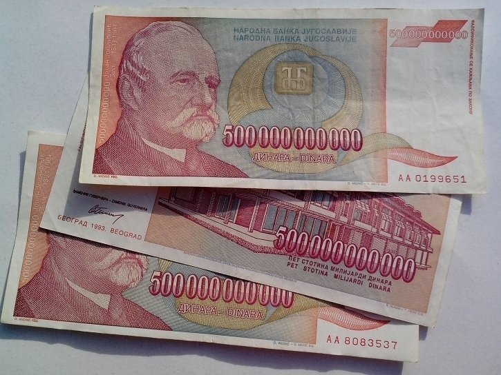 yugoslavia, inflation, money, banknotes, bill, cash, 500000000000, dinar, currency