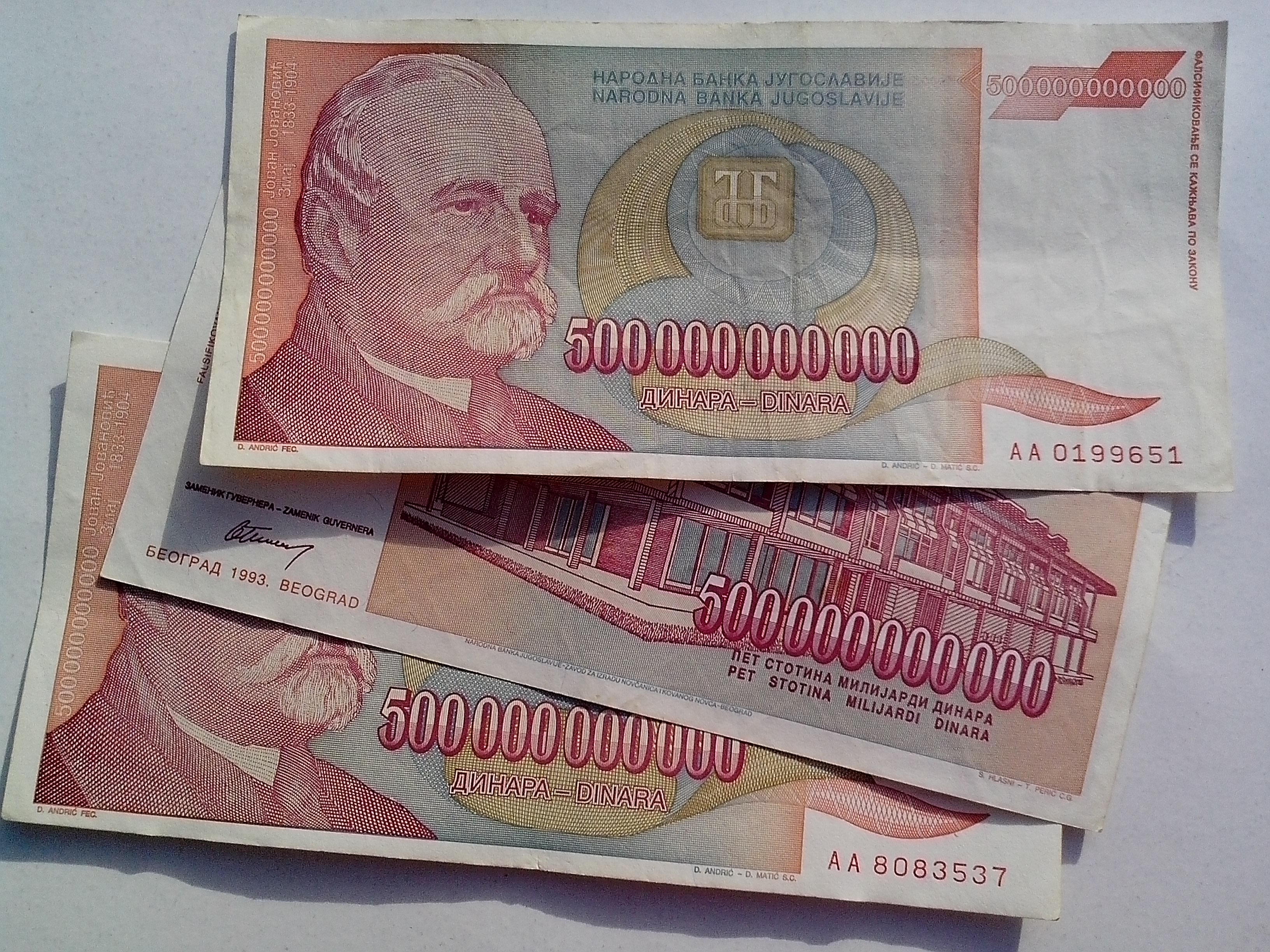 Free photograph; yugoslavia, inflation, money, banknotes, bill, cash, 500000000000, dinar, currency