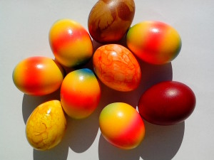 Easter, bunny, eggs, colorful, rainbow