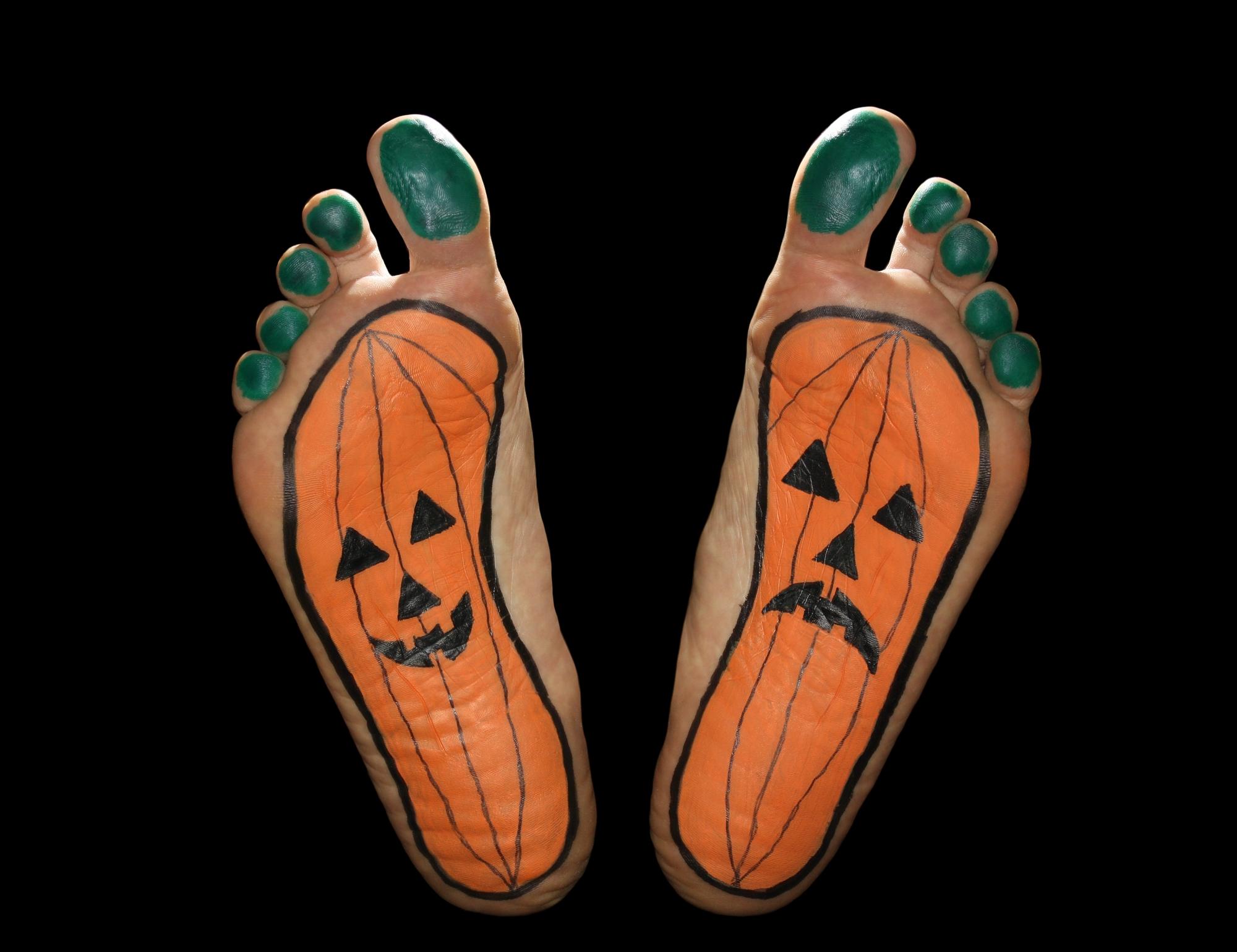 Free photograph; feet, Halloween, pumpkin, holiday