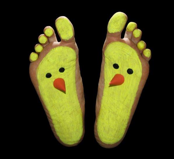 painted, Feet, little, chicken, art, artistic