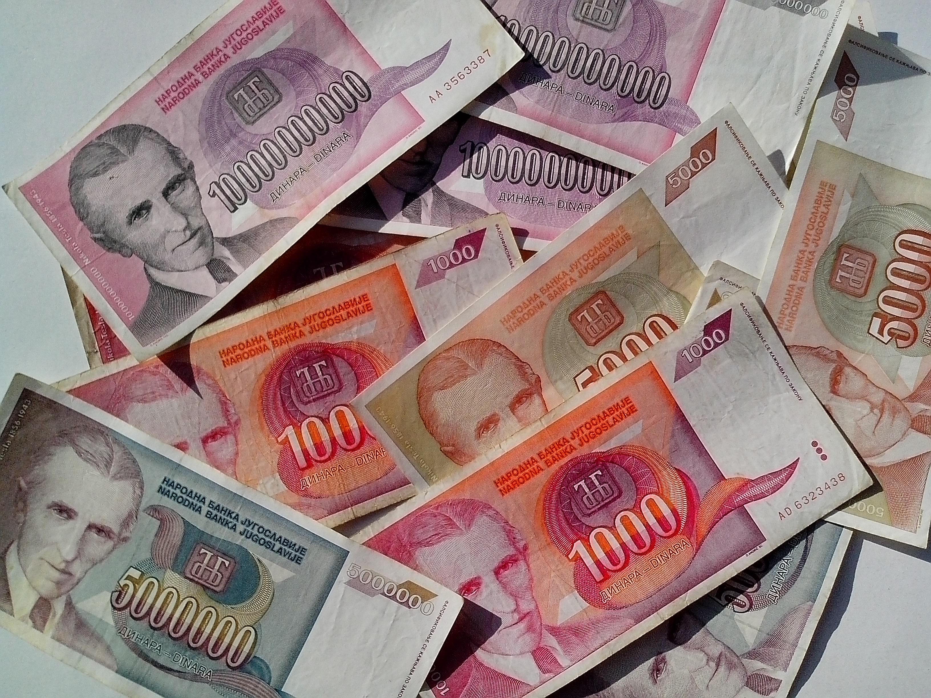 Free photograph; currency, bills, Nikola, Tesla, Serbia, Yugoslavia