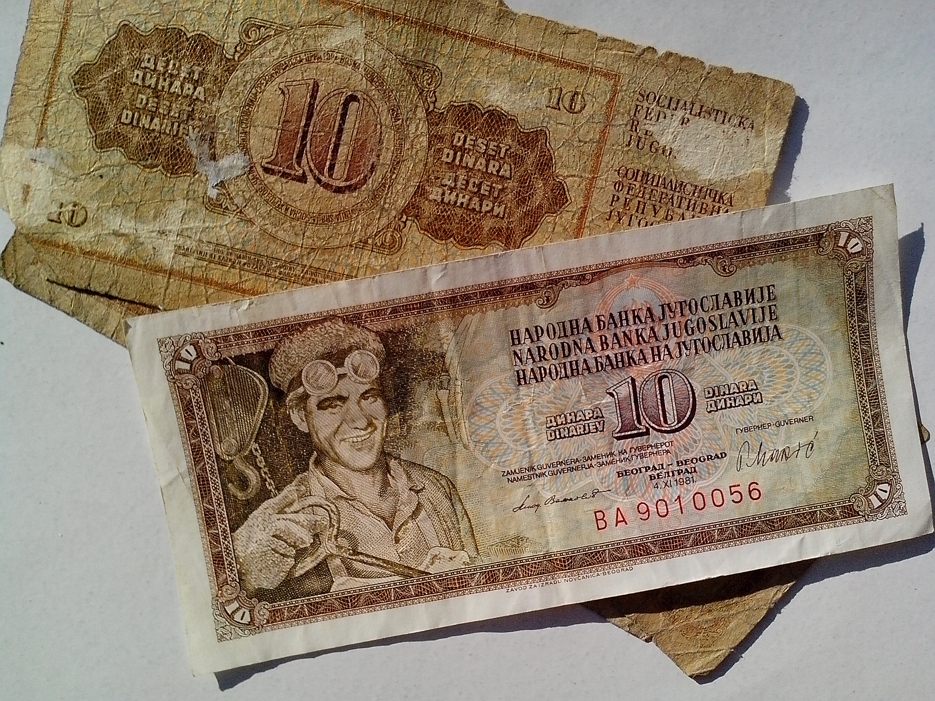 Free photograph; old, Yugoslavia, money, cash, banknotes, miner, mine, socialism