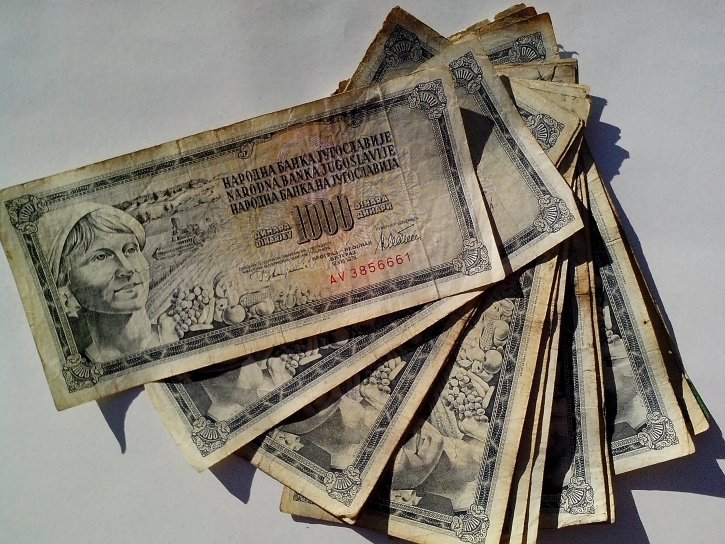 1000, dinars, currency, old, invalid, banknotes