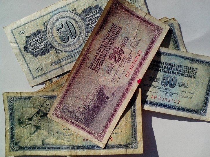 1978, banknotes, National, bank, former, Yugoslavia, vintage, paper, bills, money, cash