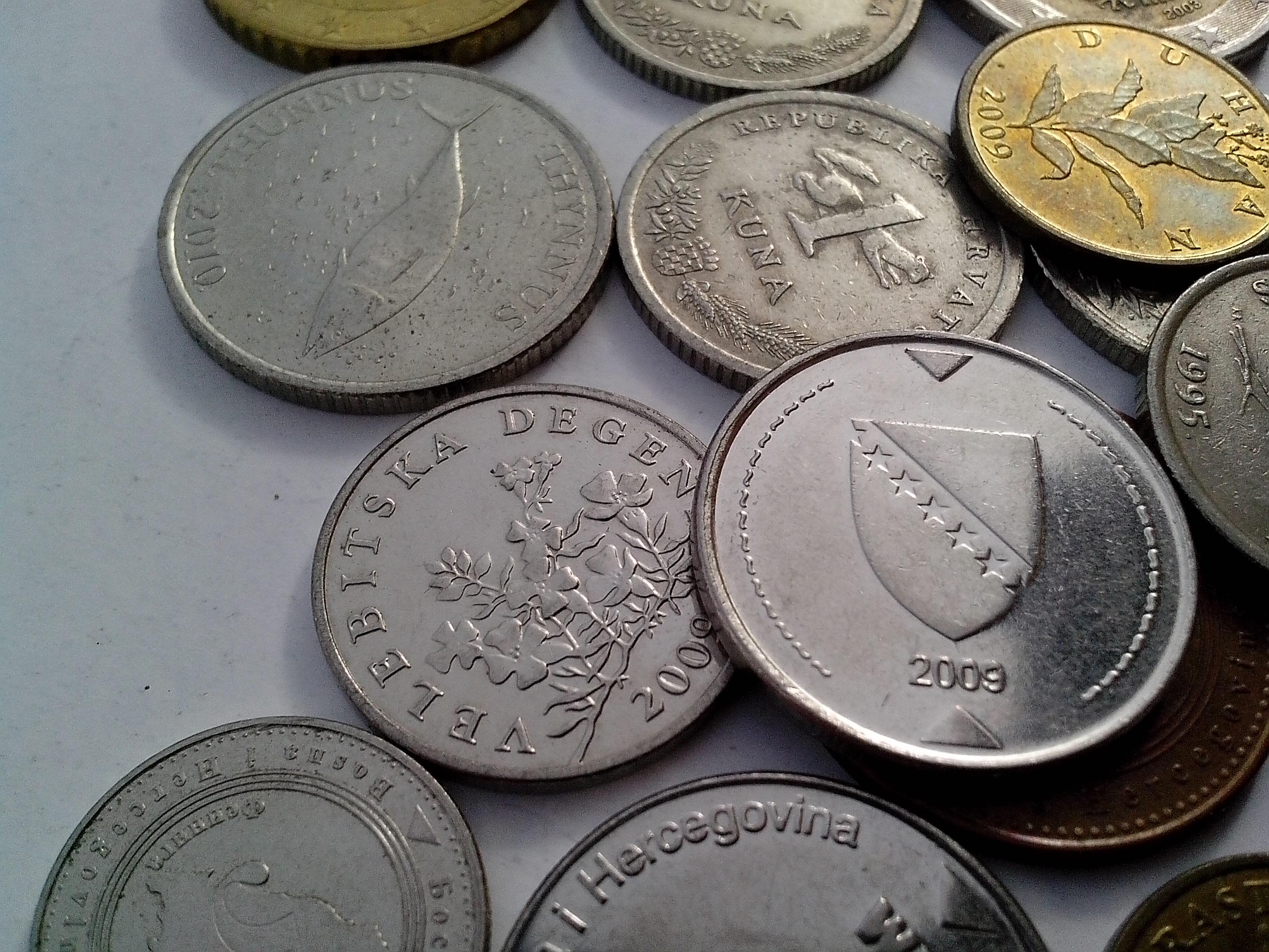 Free photograph; metal, coins, Croatia, euro, Bosnia, Herzegovina, convertible, mark