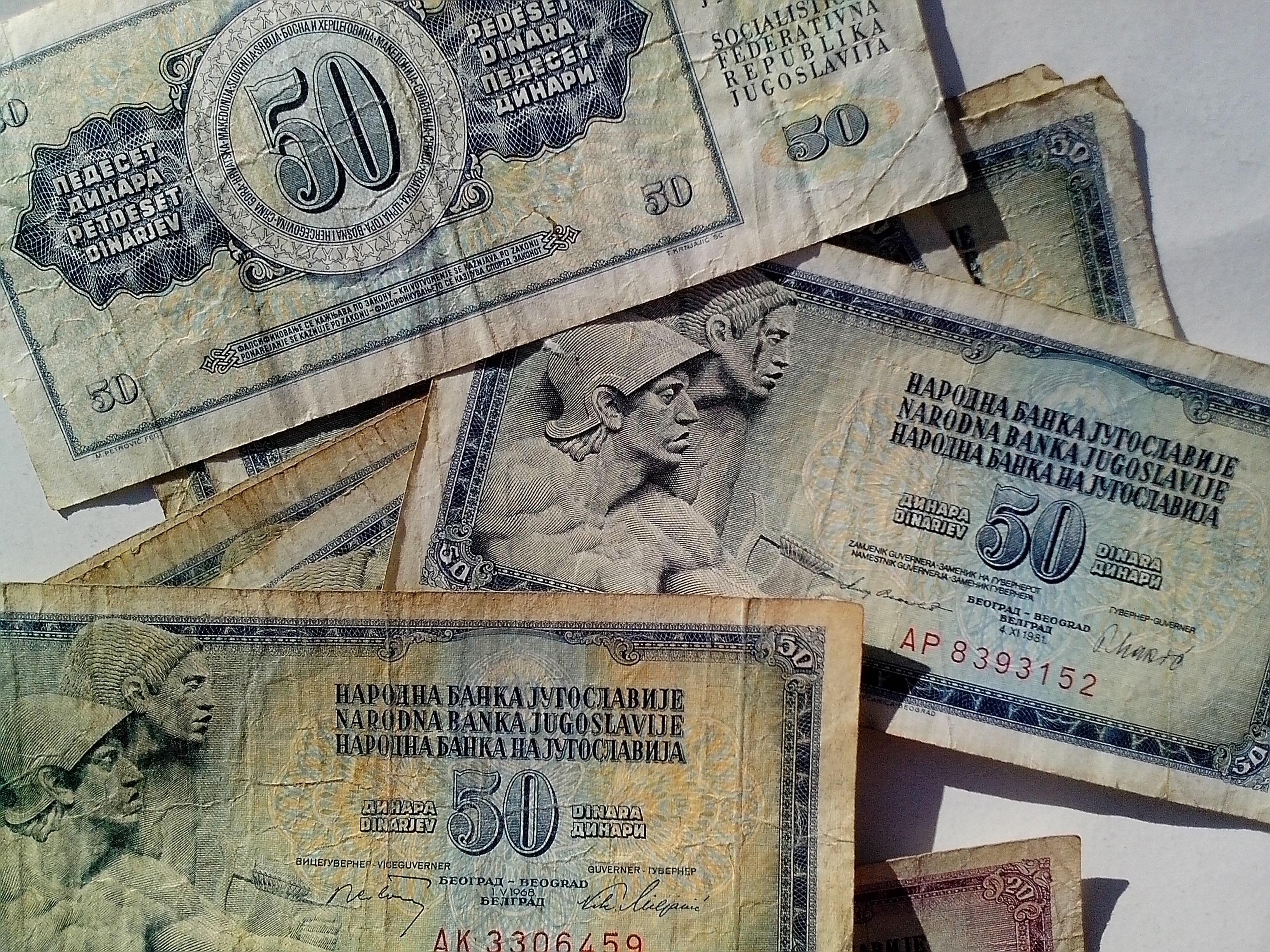 Free photograph; national, bank, Yugoslavia, banknotes, cash, currency