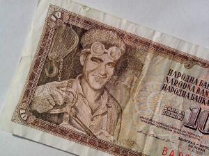 dieci, dinari, banconota, vendemmia, carta, soldi