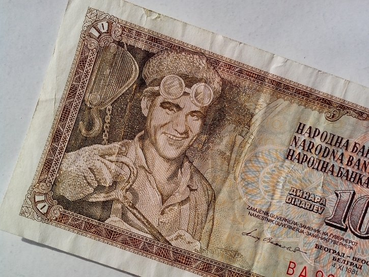 ten, dinars, banknote, vintage, paper, money