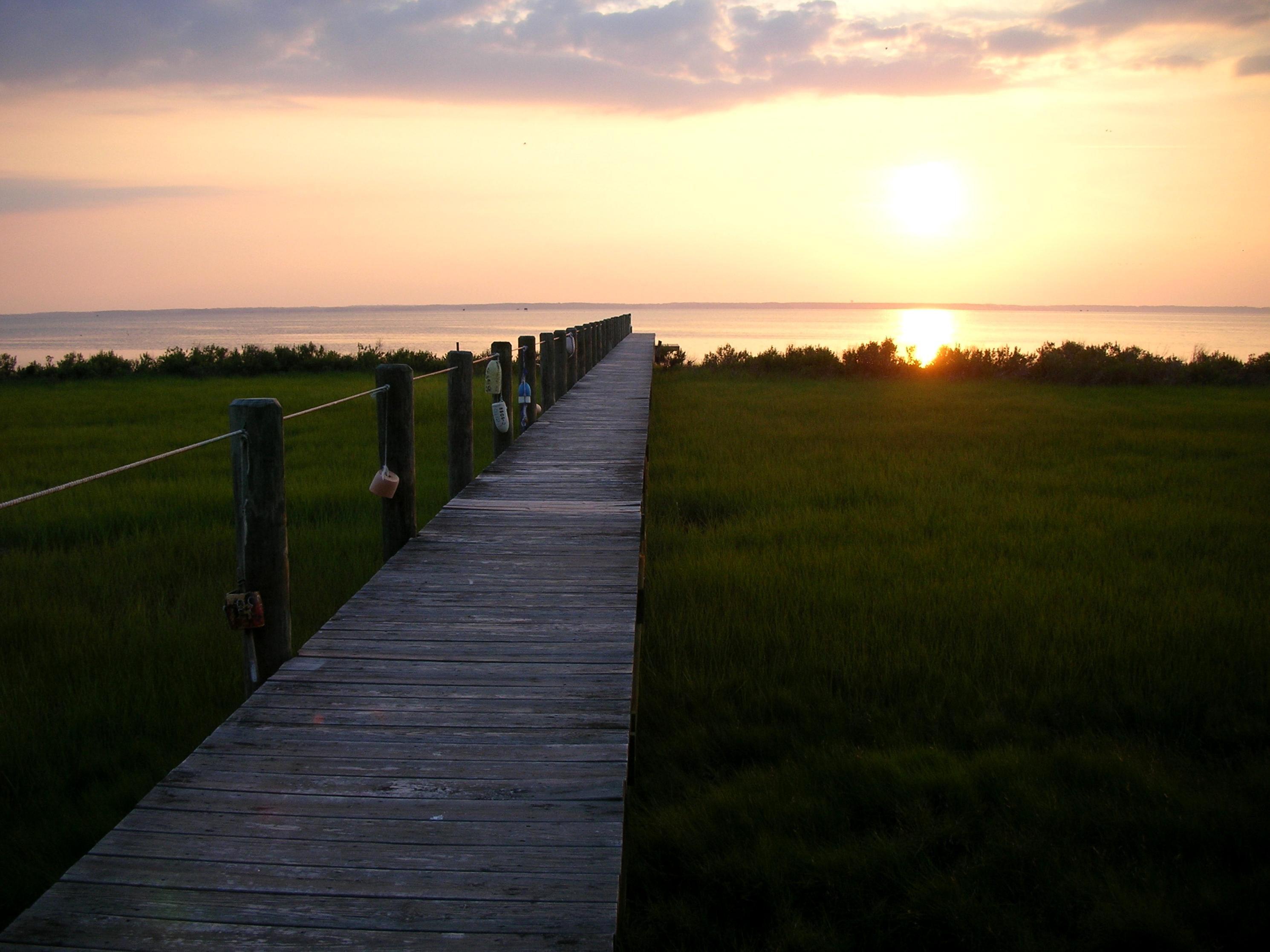 Free photograph; boardwalk, sunset