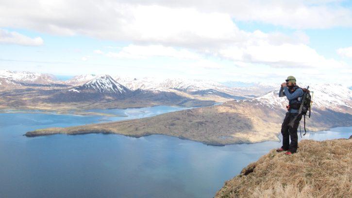 pješak, planina, jezero, sa pogledom na