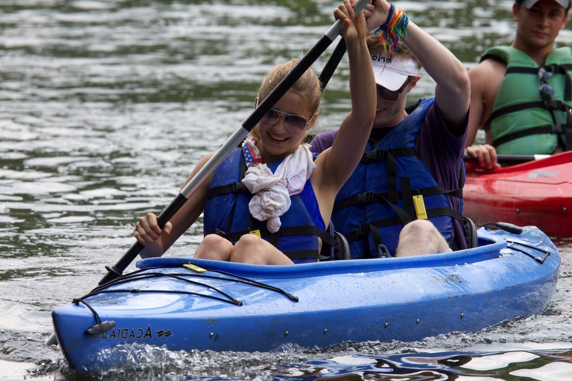 Free photograph; pair, kayakers, paddling, Potomac, river