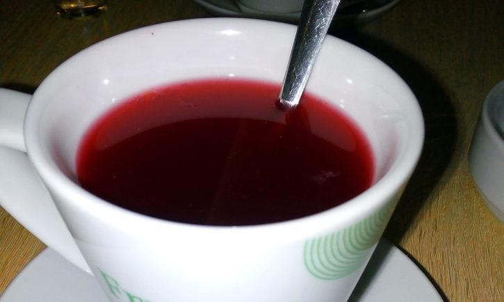 pinkish, tea, drink, mug, table