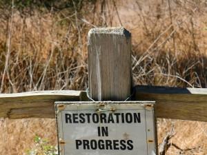 restoration, progress, sign