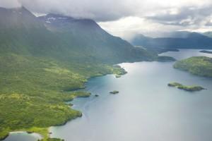 escénico, paisaje, Uganik, bahía, Kodiak, isla