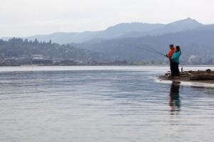 anglers, shore, fishing, urban
