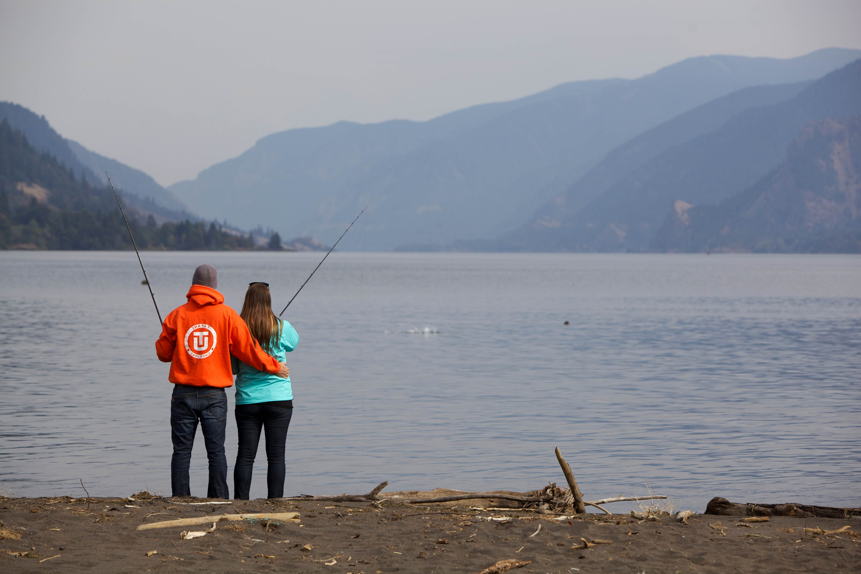 Free photograph; anglersh, fisherman, young, couple, fishing