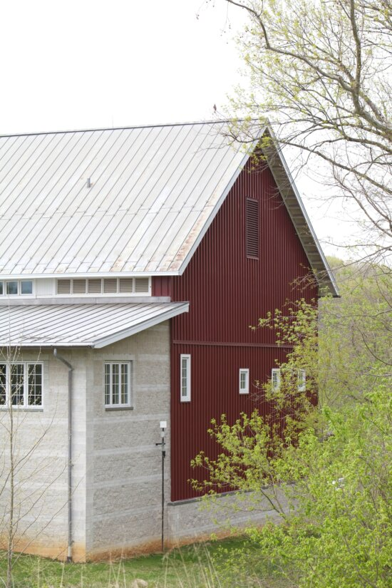 bard, house, red, white, roof