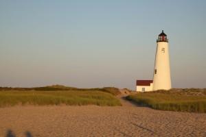 plaže, obale, sumraka, svjetionik