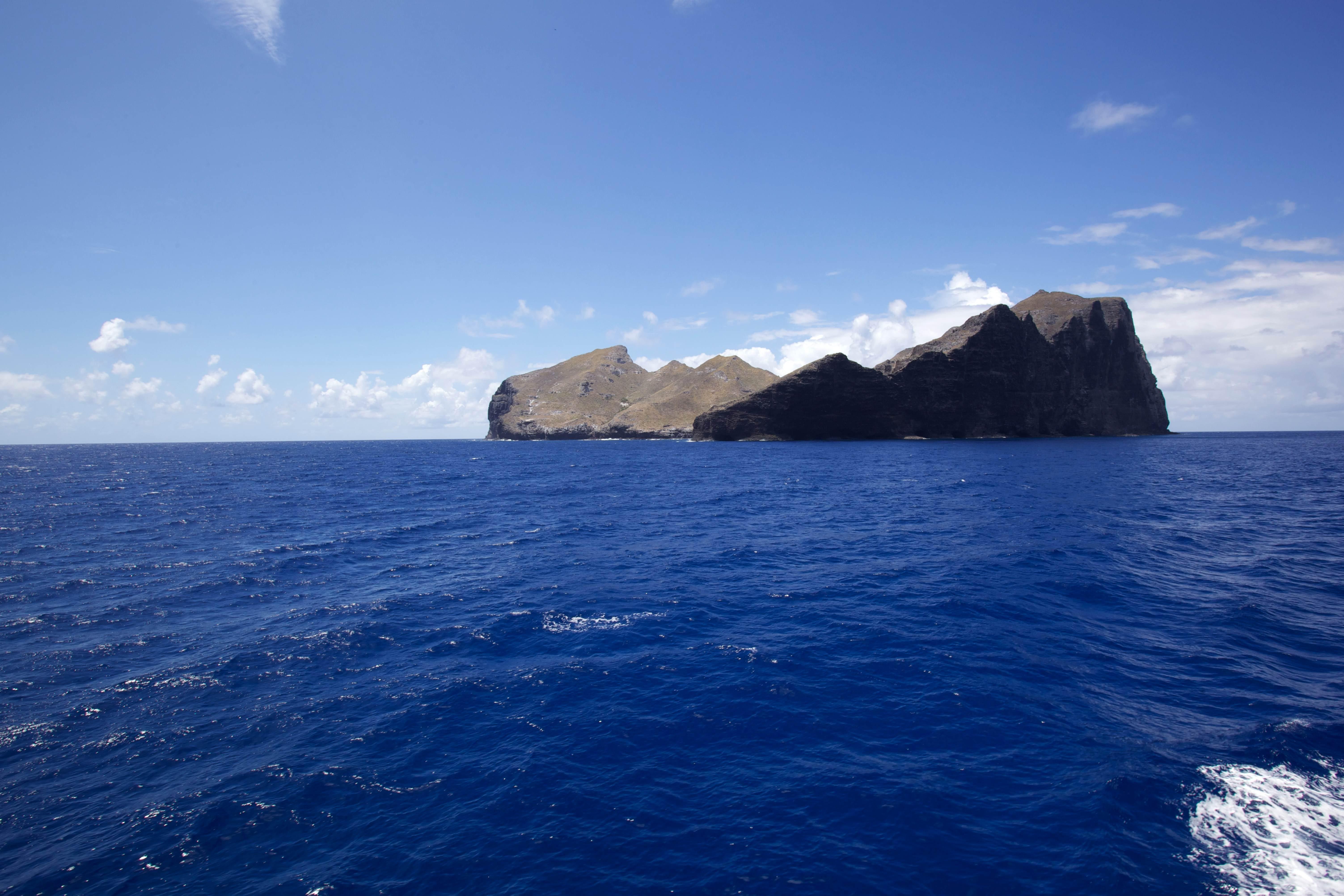 Free photograph; big, rock, island, ocean