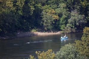 bateau, rivière, récréation, pêcheurs, radeau