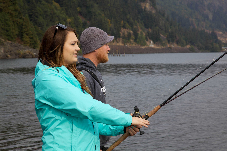 Free photograph; boyfriend, girlfriend, fishing, together, nature