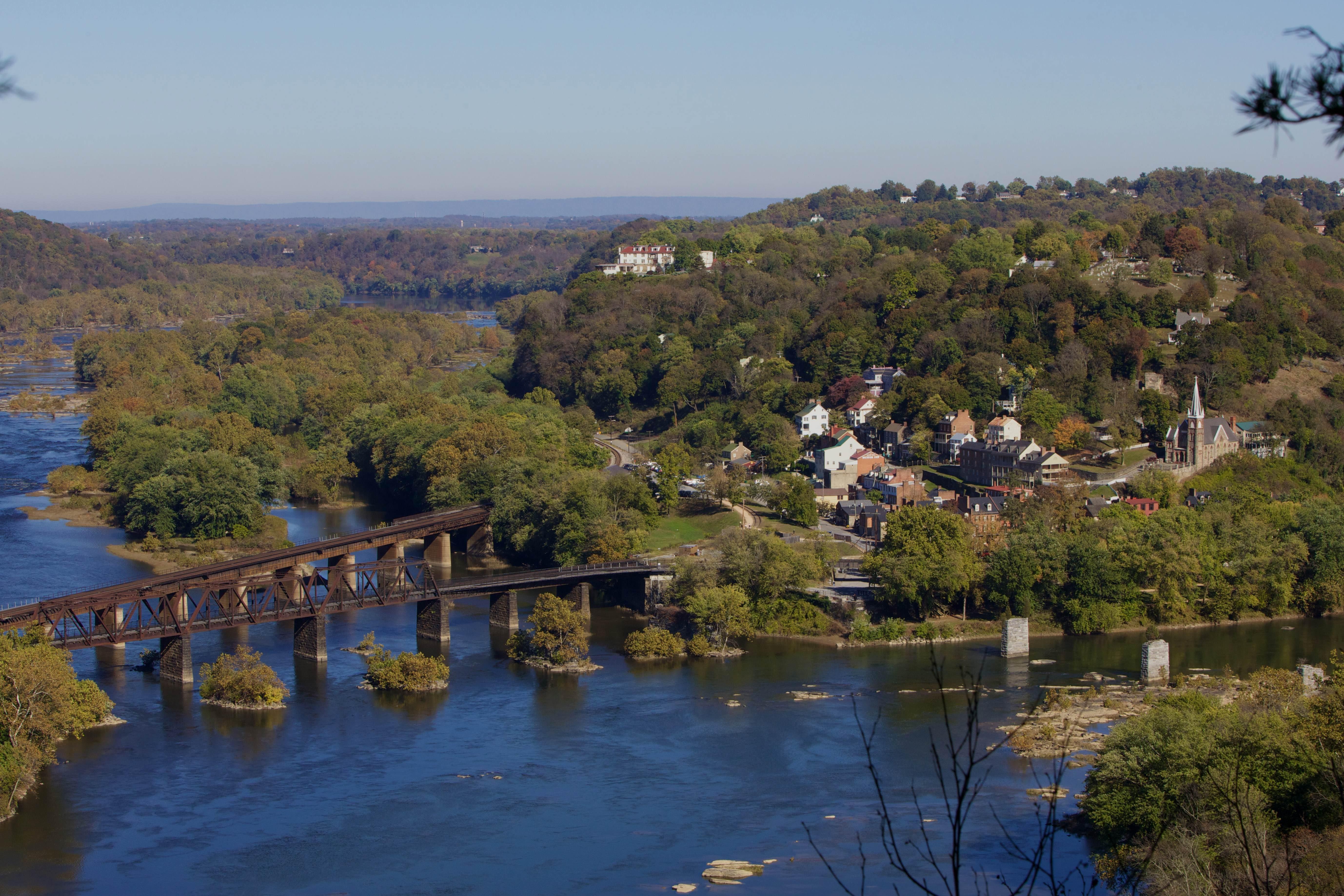 Free photograph; bridge, buildings, facilities, structures, river, autumn